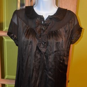 brown satin blouse, bebe size small